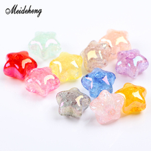 Acrylic Crack Colorful Star Beads UV Imitation Natural Crystal Single Hole beads for Jewelry making DIY Handmade Ornament Gifts
