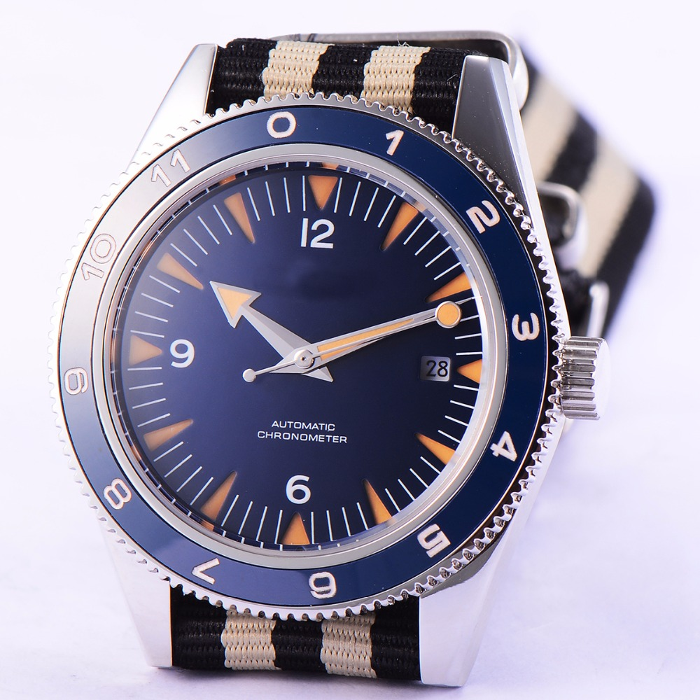 41mm debert blue sandwich dial date sapphire glass miyota Automatic mens Watch цена и фото