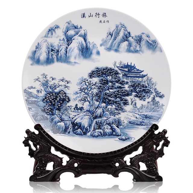35cm porcelain blue and white decorative ceramic plates Snow Mountains and Streams faceplate modern living room  sc 1 st  AliExpress.com & 35cm porcelain blue and white decorative ceramic plates Snow ...