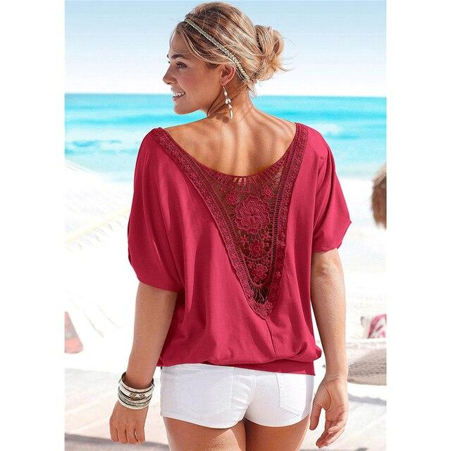 Tops de talla grande para mujer, blusa XXXXL 5XL con encaje calado en rojo y negro, ropa informal para mujer 5