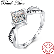 [BLACK AWN] Genuine 100% Sterling 925 Silver Jewelry Square Engagement Rings for Women Black&White Stone Bague Bijoux C260