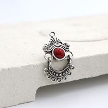 5 шт. 30*18 мм тибетский серебряный камень ретро сплав серьги Шарм подключения для изготовление, поиск ювелирных изделий Аксессуары поставки
