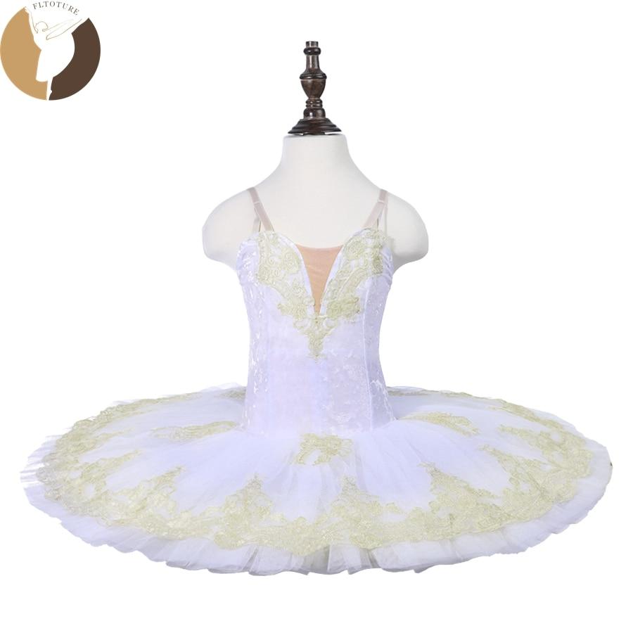 Fltoture CT18070 Child Ballet Pancake Tutu 7 Layers Hard Tulle Skirt Tutus Velvet Fabric White Swan