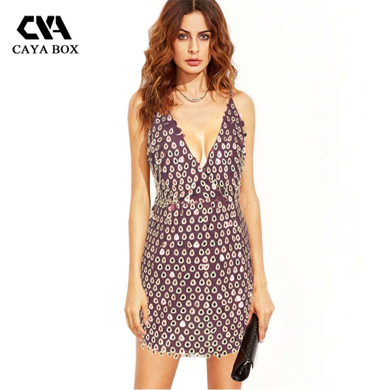 Caya Box V Neck Pretty Little Thing Sequin Dress Backless Mini Women Bodycon Render Dresses Clothings In From S Clothing