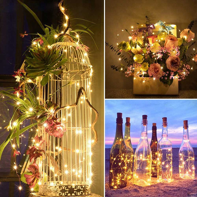 led christmas garland copper wire led string fairy lights glass craft bottle 2m christmas diy led