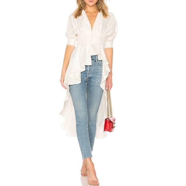 c76720728fca48 Designer Asymmetrical Blouse Women Ruffle Flounce Top Resort Boho Cotton  Empire Waist Casual Long Tuxedo Office Lady White Shirt