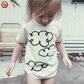 2016 Patrón de Nubes de Verano Muchachos camiseta de Algodón Blanco Ropa de Las Muchachas Embroma la camiseta niños camisetas Baby Boy/Girl ropa