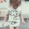 2016 Summer Clouds Pattern Boys t shirt Cotton White Girls Clothes Kids t-shirt children t shirts Baby Boy/Girl Clothing