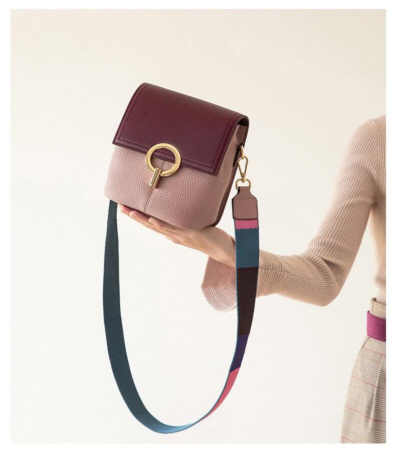 Mode femmes sac à main en peau de vache sac Messenger en cuir véritable dames épaule petits sacs carrés contraste couleur croix sacs de corps