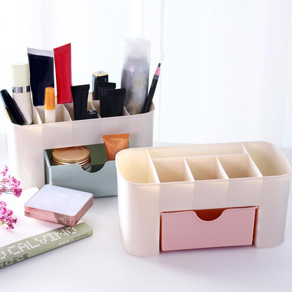 New 3 Colors Plastic Table Storage Box Makeup Organizer Nail Art Manicure Tools Desktop Storage Box Drawer Jewelry Cosmetic Scis