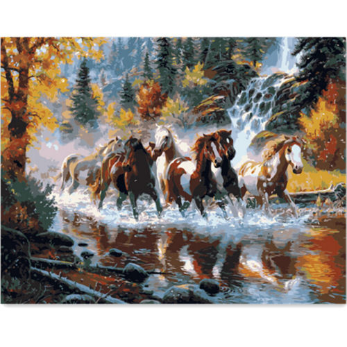 KISSMYTWINS Running Horse DIY Oil Painting By Numbers Digital Oil Painting Kits