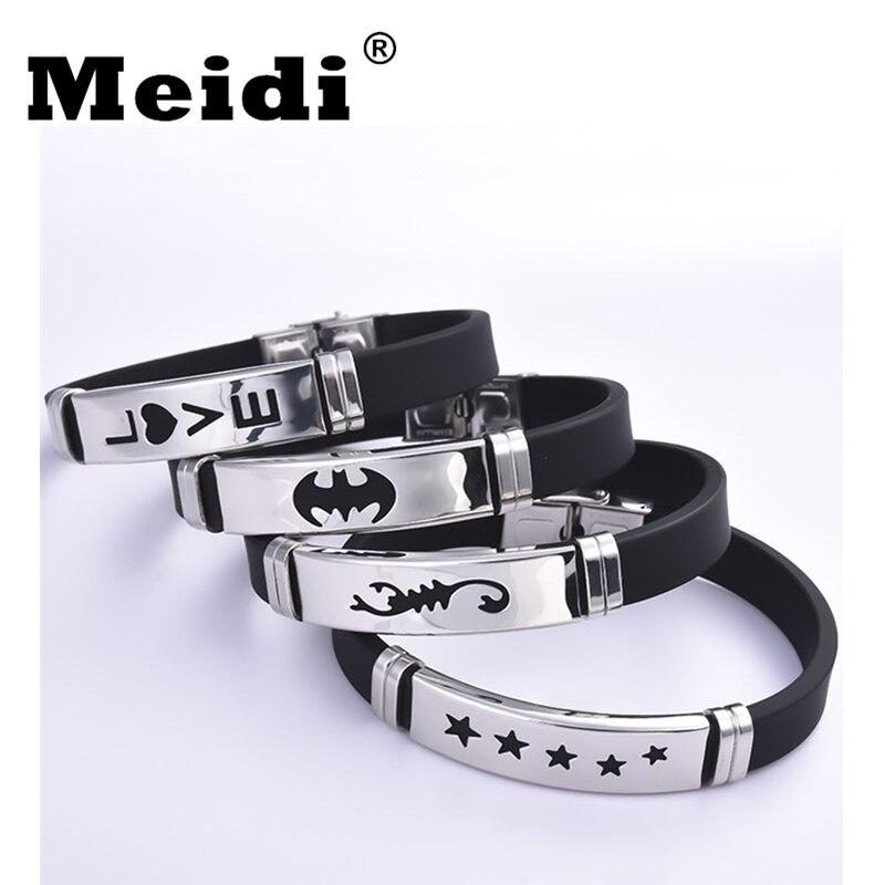 2018 New Bat Couple Bracelets Women Men Geometric Stainless Steel Love Star Charm Bracelets Wristbands Male Jewelry Lovers Gifts