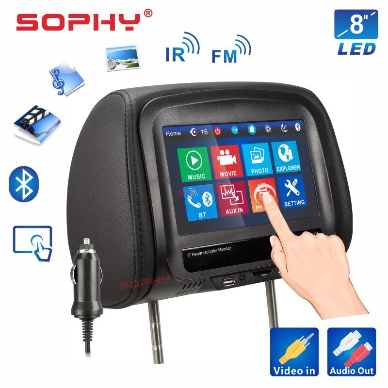 Neue! 7 oder 8 zoll Auto Kopfstütze Monitor MP4/MP5 Video Player Kissen Monitor mit IR FM Touchscreen Telefon lade 7068 oder 8068