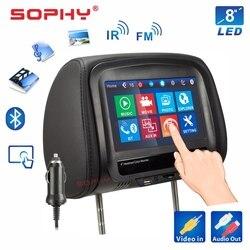 Neue! 8 zoll Auto Kopfstütze Monitor MP4/MP5 Video Player Kissen Monitor mit IR FM Touch Screen Telefon Lade SH8068-P5