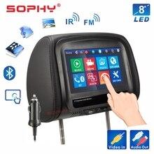¡Nuevo! Monitor para reposacabezas de coche, almohada con reproductor de vídeo MP4/MP5, pantalla táctil IR FM, carga de teléfono 7068 o 8068 pulgadas