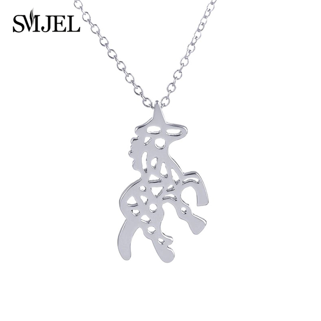 SMJEL 2017 New Fashion Unicorn Pendant Necklace for Women Minimalist Horse Animal Necklaces Accessories Party Gift Girls