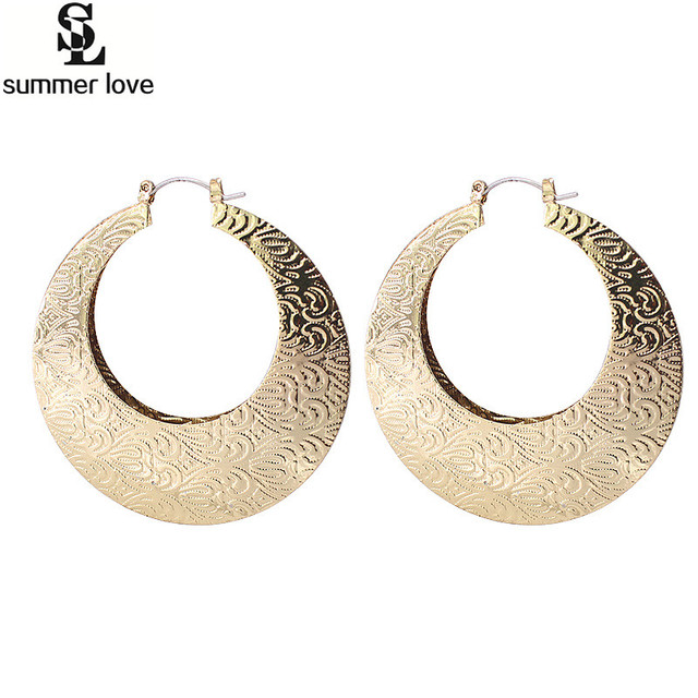 Indian Jewelry Large Gold Hoop Earrings Oversize Geometric Round Circle Earring For Women Hiphop Ethnic