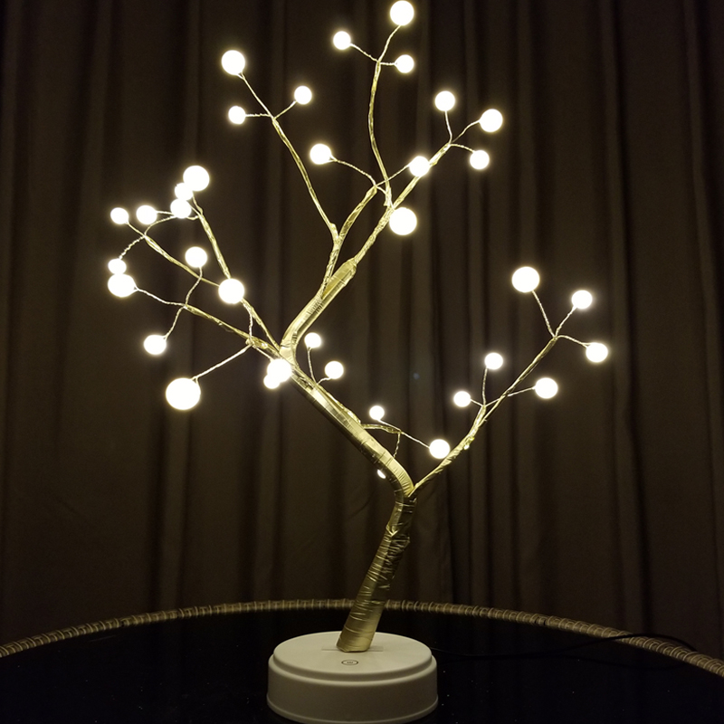Novelty LED Pearl Cherry Tree Night Lights Fairy Luminarias Holiday Lighting Table Lamps Bedroom Christmas Indoor Home Decor