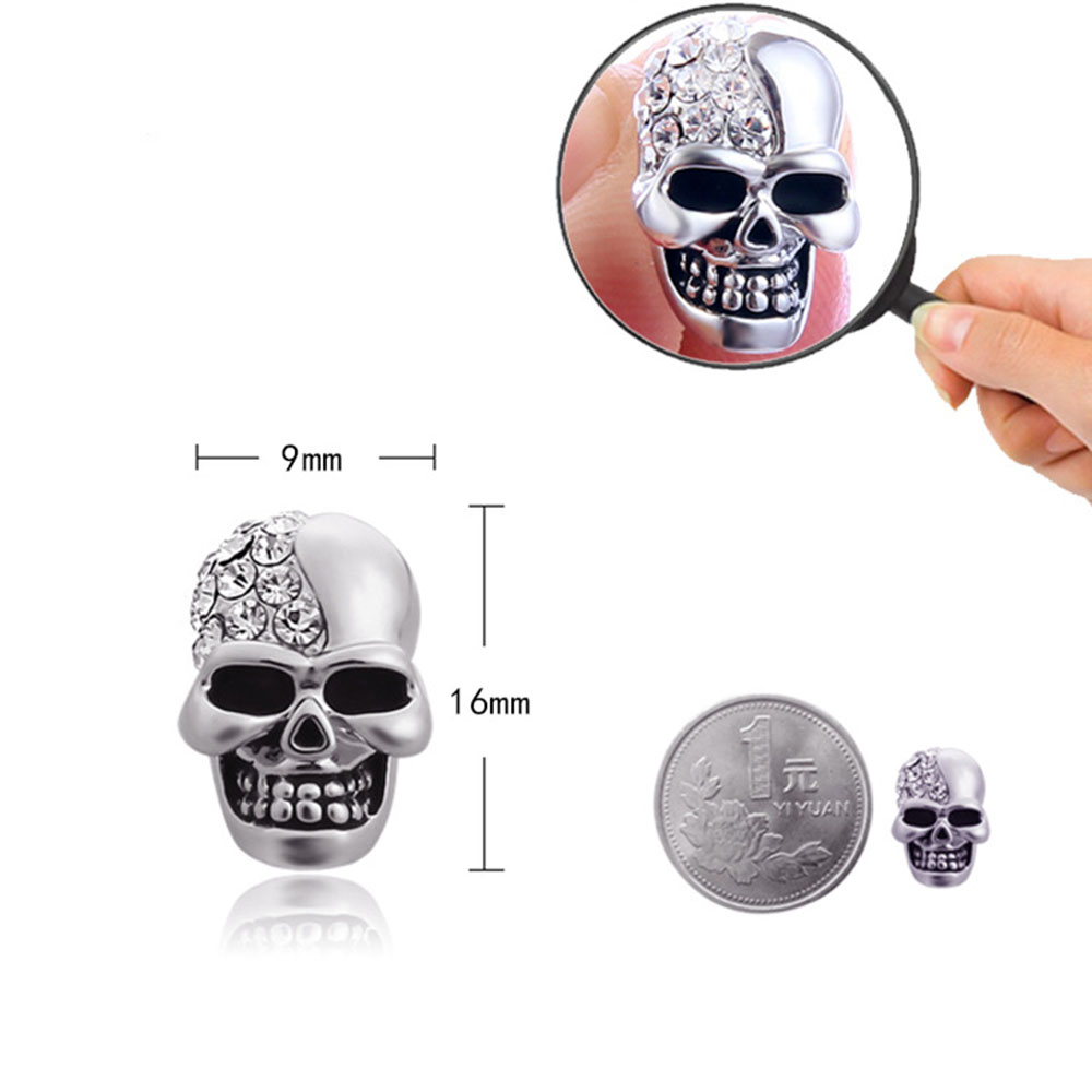 cuff shipping free for long stud stainless jewelry steel candyglove women products skull earrings in pair ear crystal chain men