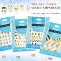 1 unids/lote Nueva 3D Nail Art Gold mar carta línea shell Sticker Decal Stamping Nail Tips Decoración