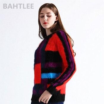 6b8e20ba3e87 Suéteres de conejo angora de otoño e invierno de 2018 para mujer, suéter  con cuello redondo, estilo occidental, marca de moda, mantener el color  cálido