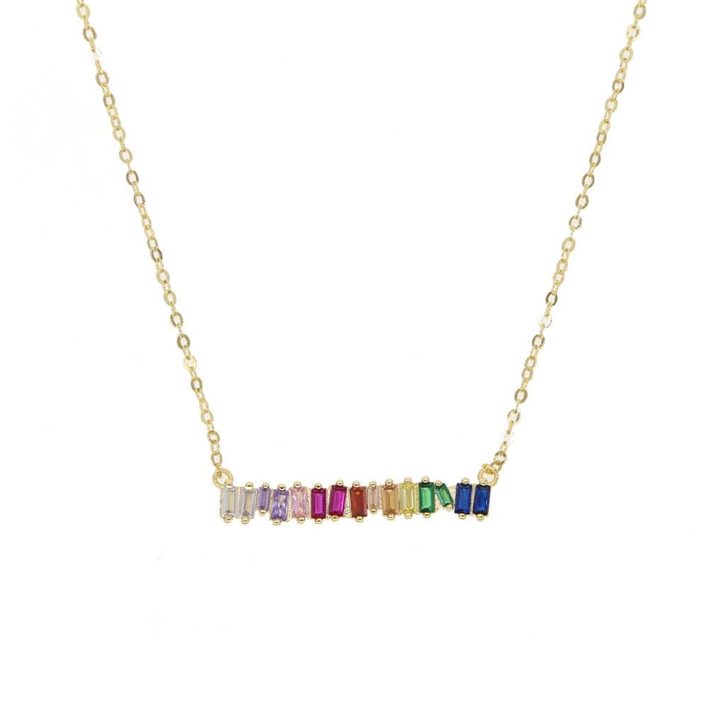 2019 高品質虹 baguetee cz バー幾何ペンダント & ネックレスカラフルな虹ゴールド充填女性のファッションチョーカーギフト