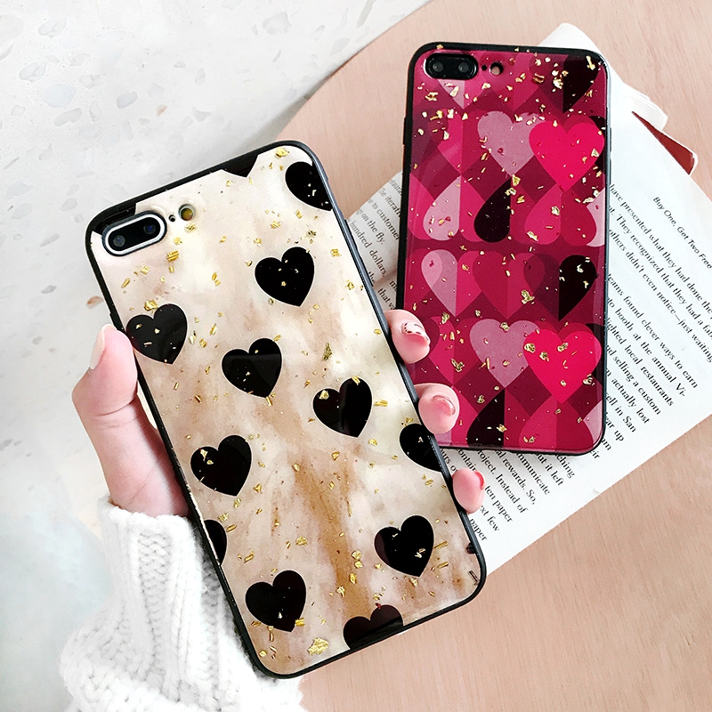 For Huawei P20 Pro Case Retro Cute Love Heart Gold Foil Bling Glitter Phone Case For Huawei P20 Pro Soft TPU Silicone Back Cover in Fitted Cases from Cellphones Telecommunications