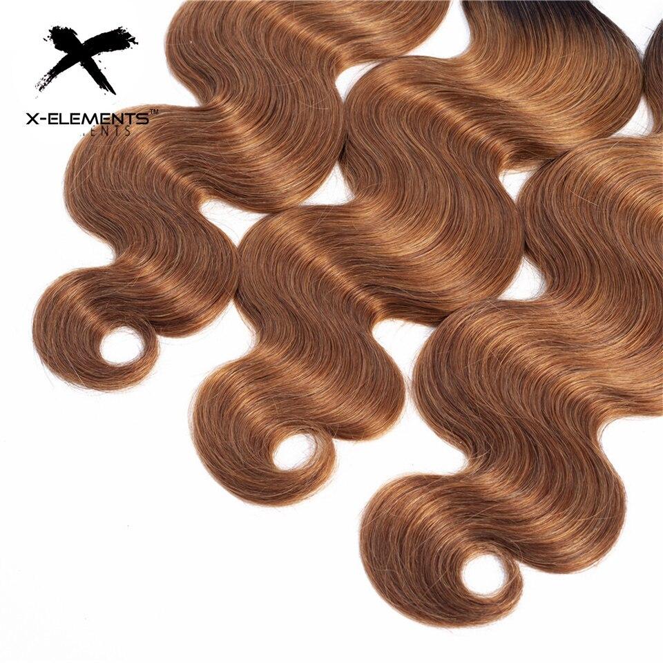 X-Elements Ombre Brazilian Body Wave Hair Bundles T1B Red T1B 30 T1B Burgundy Ombre Human Hair Extensions Two Tones Hair Weave Bundles (4)