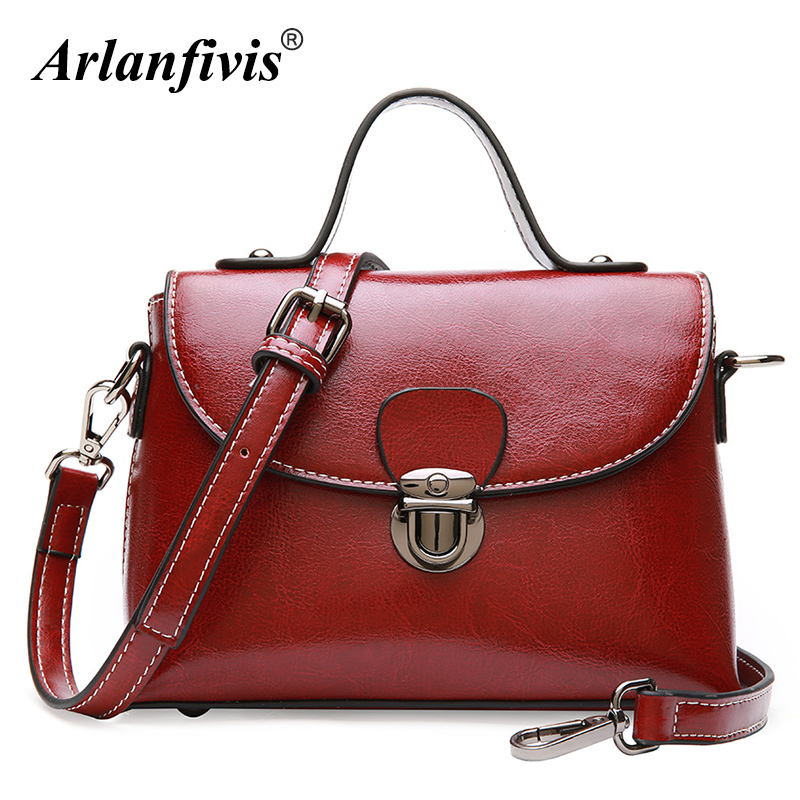 Arlanfivis Genuine Leather Fashion Small Crossbody Bags Oil Wax Leather Vintage Women Shoulder Bag Flap Bolsa Retro Purse Female aetoo the new oil wax cow leather bags real leather bag fashion in europe and america big capacity of the bag