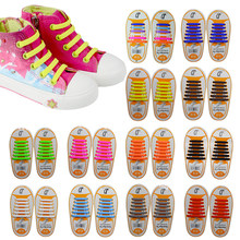 12pcs/Pair Kids Children Elastic Silicone Shoelaces Sneakers No Tie Shoelaces Child Shoes Laces Baby Sports Athletic Fit Strap(China)