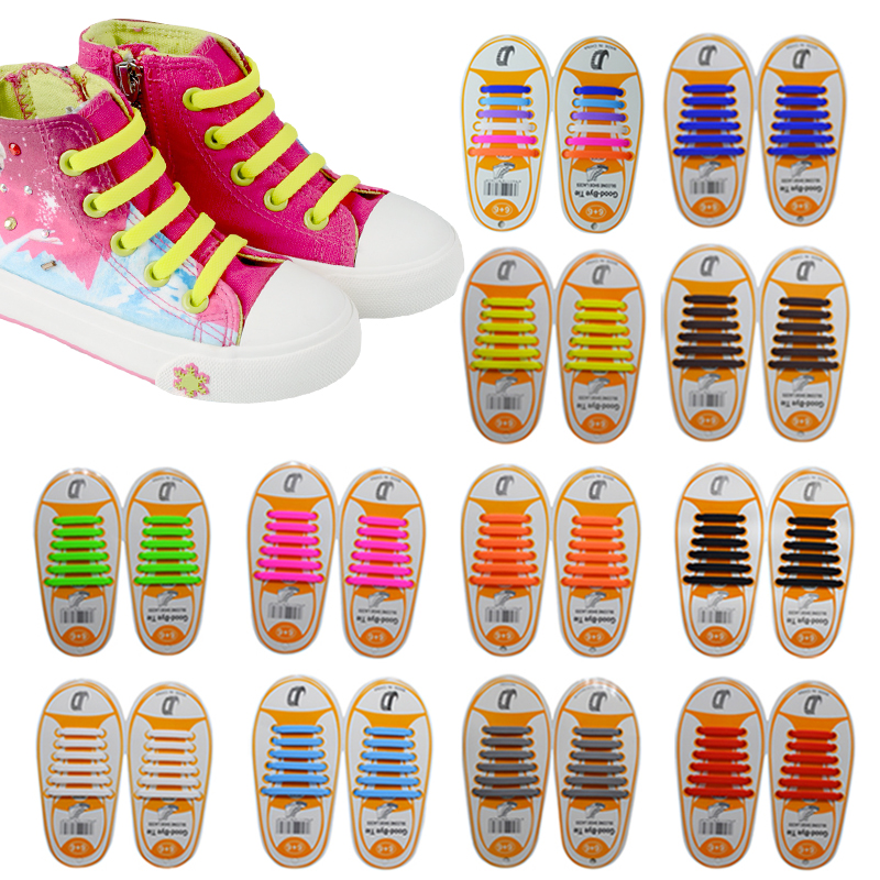 12pcs Pair Kids Children Elastic Silicone Shoelaces Sneakers No Tie Shoelaces Child Shoes Laces font b