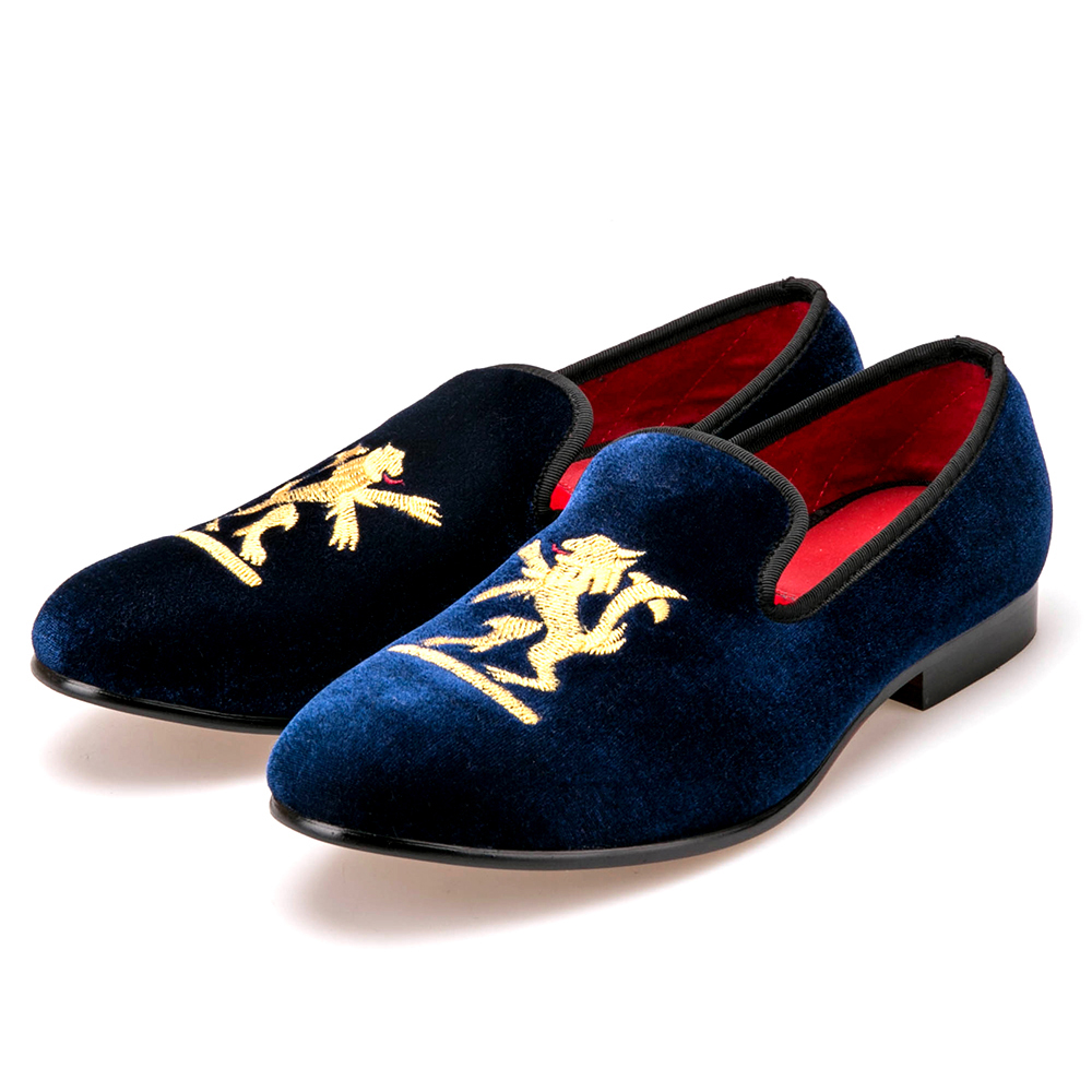 Lion embroidery Velvet Men shoes Men Plus Size Loafers Men wedding Shoe Men  Flats Size US4-17Free shipping 5f7b1bccea8f