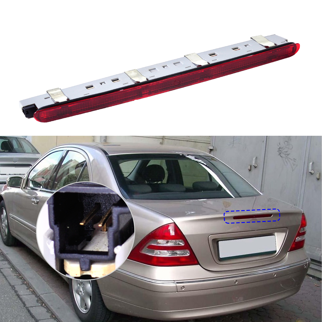 DWCX 2038201456 2038200156 1PC Rear Tail Stop Lamp Third Brake Light for Mercedes Benz W203 C230 C240 2000 - 2004 2004 2006 2007 car truck led tail rear bumper reflector light brake stop warining lamp for mercedes benz e class w203 sedan