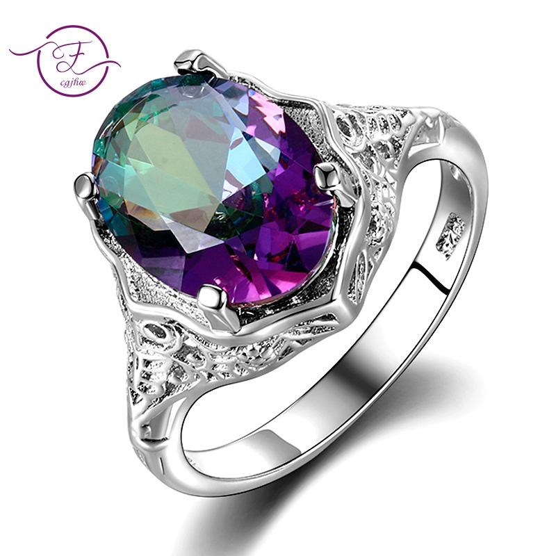 Haute qualité véritable arc-en-ciel feu mystique bague topaze solide 925 bijoux en argent Sterling meilleur cadeau pour les femmes bijoux fins en gros