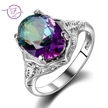 High Quality Genuine Rainbow Fire Mystic Topaz Ring Solid 925 Sterling Silver Jewelry Best Gift For Women Fine Jewelry Wholesale(China)