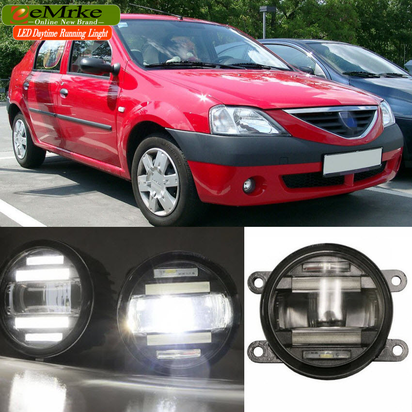 eeMrke Car Styling For Dacia Logan i ii 1 2 2004 2016 2 in 1 LED Fog Lights DRL with Lens Daytime Running Lights
