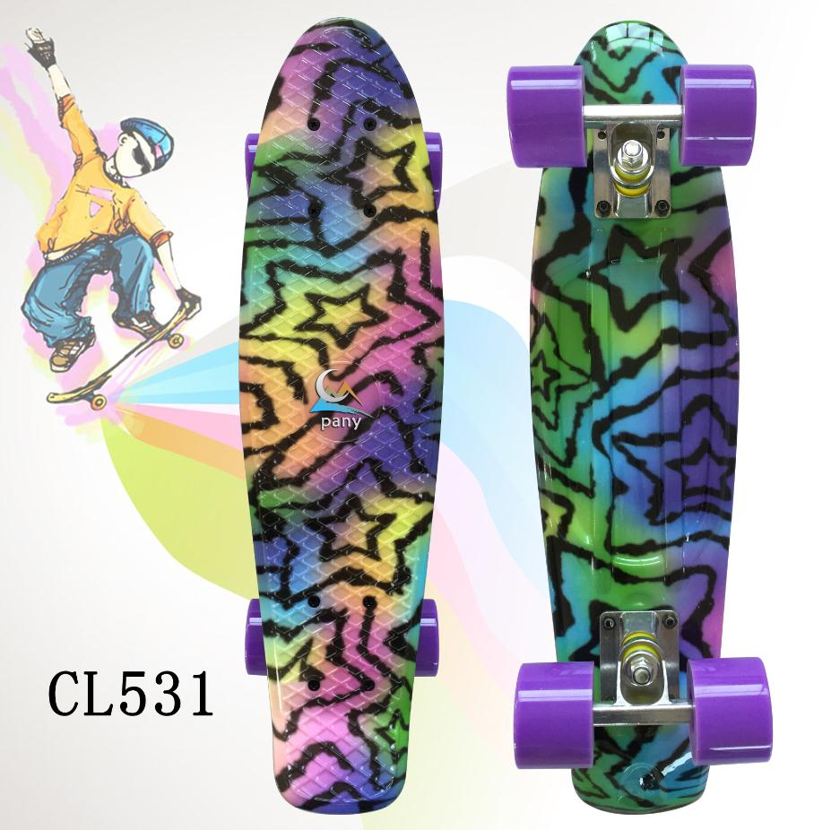 """Image 3 - 22"""" Shining color mixed Skate Cruiser Board Plastic Retro Style Banana Skateboard Light Mini Longboard with good quality-in Skate Board from Sports & Entertainment"""
