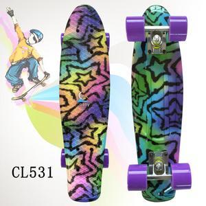 """Image 3 - 22 """"빛나는 색상 혼합 스케이트 크루저 보드 플라스틱 레트로 스타일 바나나 스케이트 보드 라이트 미니 longboard 좋은 품질"""
