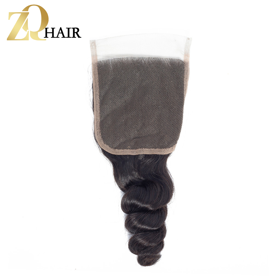 ZQ HAIR Loose Wave Indian Lace Closure 8-20 Inch Closure Hair Natural Color 4x4 Non Remy Hair 100% Human Hair Free Shipping