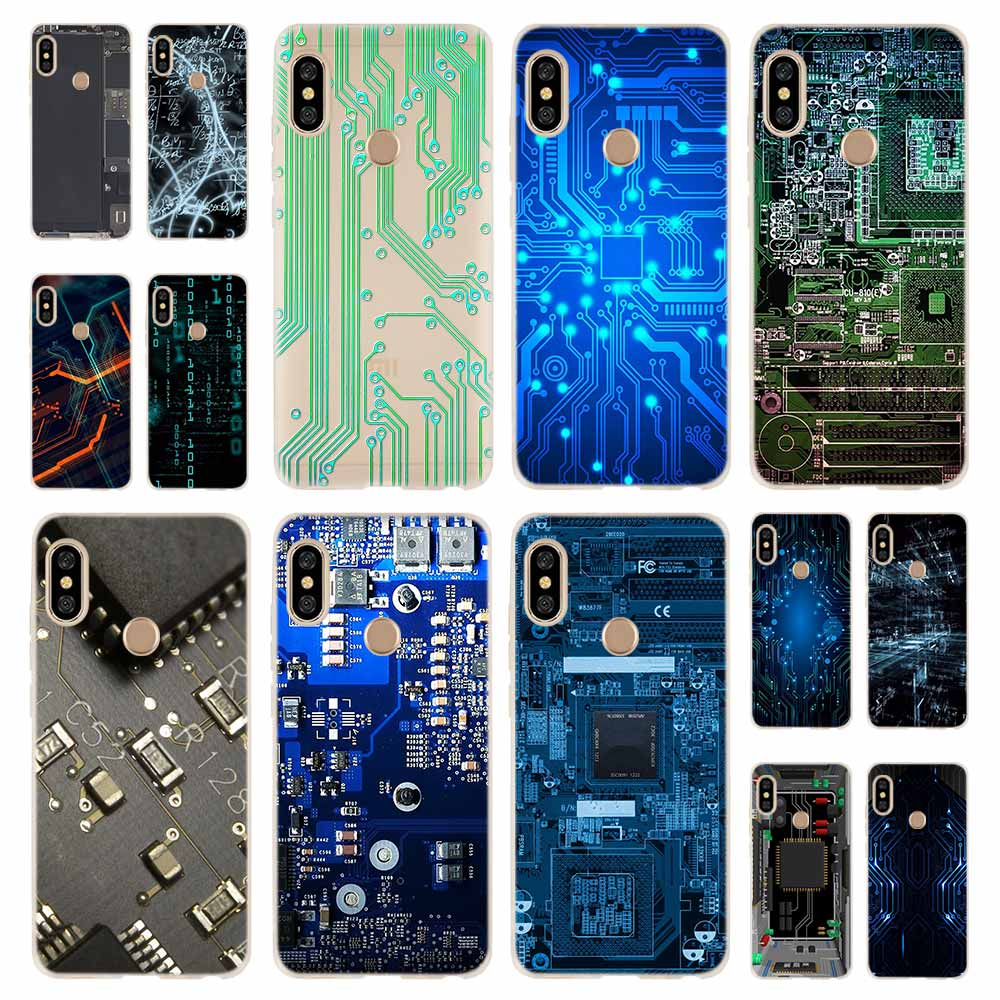Technology Circuit <font><b>board</b></font> Fashion Soft TPU Case Cover For Coque Xiaomi Redmi 9a 8a 7a 6a 5a <font><b>Note</b></font> 9 <font><b>8</b></font> 7 6 5 Pro 8t y3 image