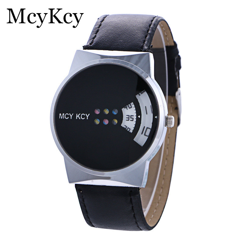 Personalized Creative Turntable Black White Lovers Quartz Watch Fashion Leisure Trend Leather Men Women Watches Relogio Feminino