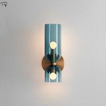 Nordic Modern Glass Wall Lamp Bedroom Bedside Living Room Aisle Luminaria Led Sconces Simple Creative Art Design Decoration Home