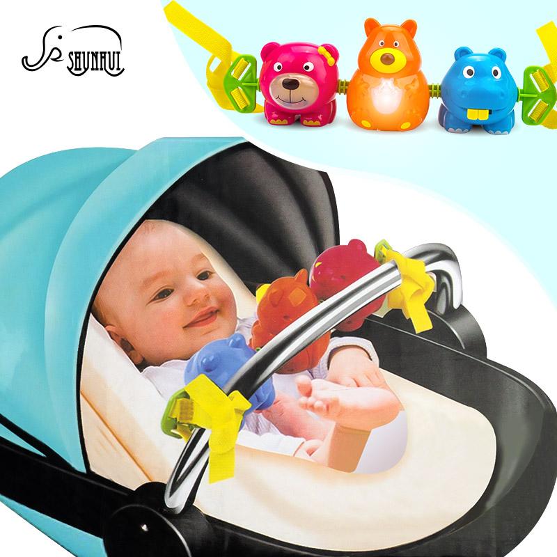 Cute Baby Mobile Bed Bell Plastic Toys Stroller Infant 0-12 Months Electronic Musical Hanging Rattle Light Trolley SHUNHUI Toy animal baby toys 0 12 months newborns stuffed rattles mobile bed stroller hanging rattle rabbit teether appease toy with bb bell