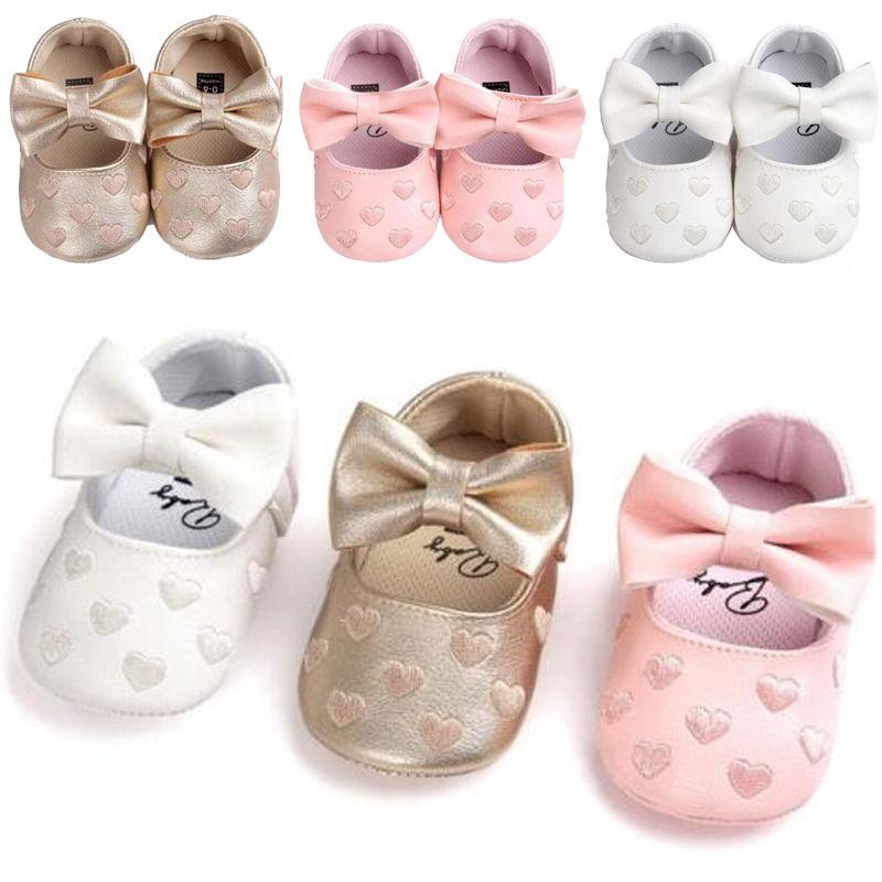 Cute Newborn Toddler Girl Crib Shoes Baby Bowknot Soft Sole Prewalker Sneakers 0-18M
