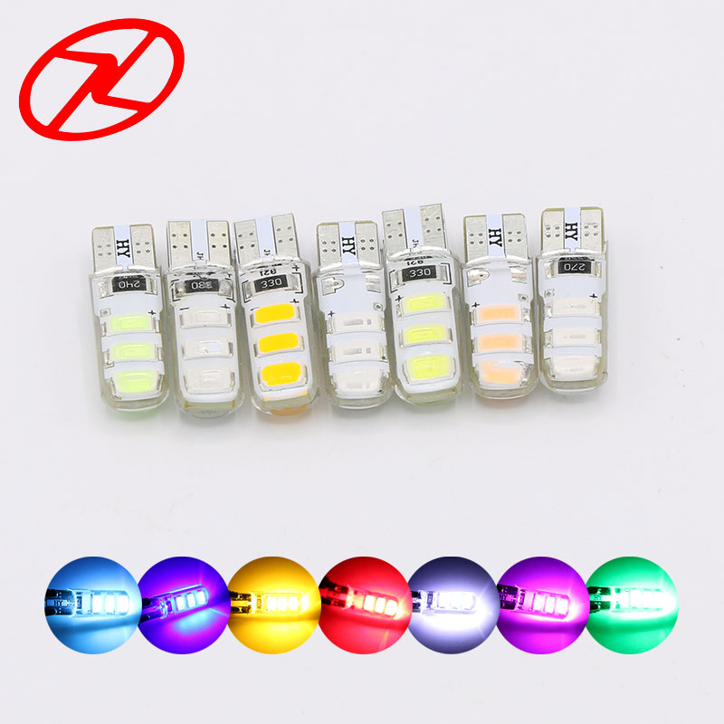 2PCS T10 W5W LED car interior light lamp 6 SMD 12V 194 501 auto wedge parking dome light bulb White Blue Yellow Red Green Pink