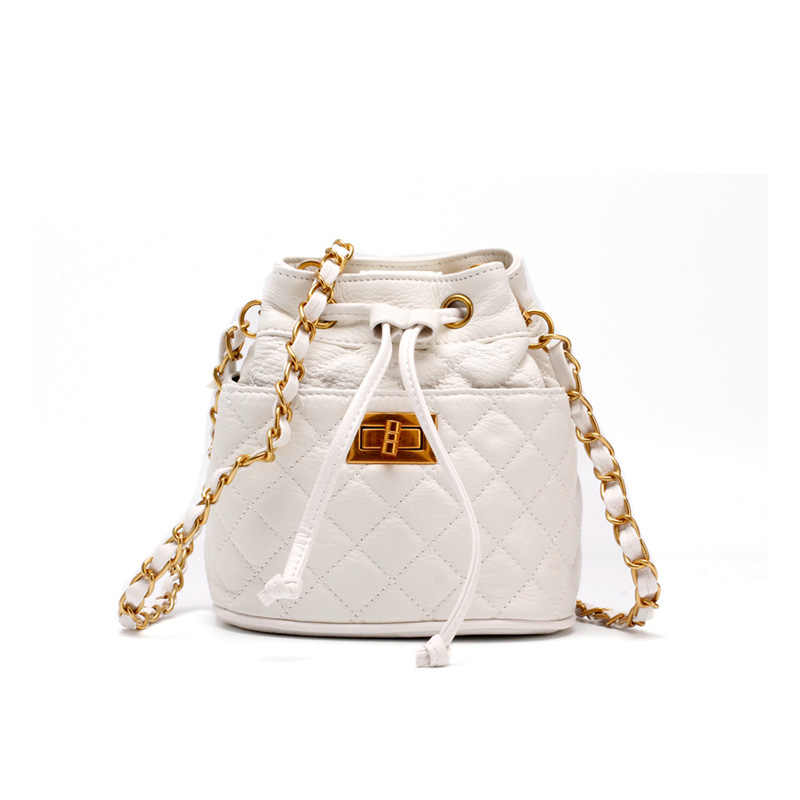 4d78b5e055 ... Diamond Lattice String Small Bucket Bag Luxury Fashion Style 100%  Cowhide Leather Women Shoulder Bag ...