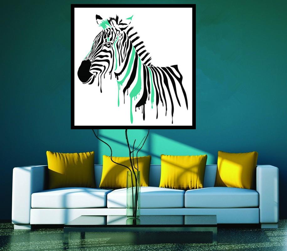 arte pieza abstracta moderna de la pintura sin armazn africano negro zebra print