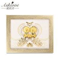 Asklove Gold foil 3D Painting poster Wall Art Painting Wedding Anniversary Valentine's Day gifts wall picture Just Married decor