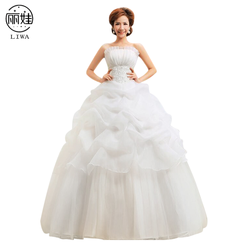 Ruching Wedding Gowns: Shell Collar Strapless Ruched Tutu Wedding Dresses