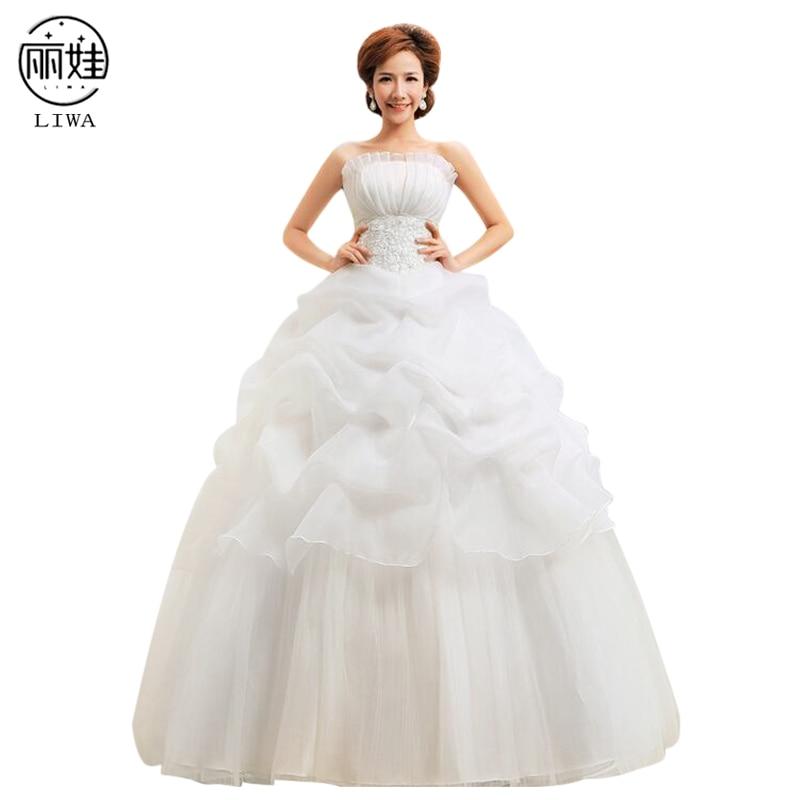 Shell Collar Strapless Ruched Tutu Wedding Dresses Embroidery Back Zipper Slim Bride Gowns Floor Length Vestido De Noiva HS13